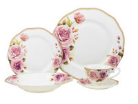 20 Piece Euro Porcelain Fine Bone China Dinner Serving Dish Set for 4 - Premium