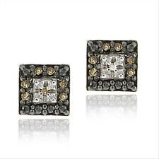 925 Silver .13ct Champagne Diamond Square Stud Earrings