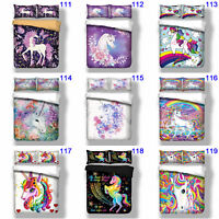 Unicorn Doona Quilt Duvet Cover Set Single/Queen/King Size Bed Pillowcase Animal