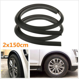 2Pcs Black Rubber Car Fender Flare Wheel Eyebrow Protector Wheel Arch Trim Strip