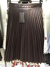 ZARA FAUX LEATHER PLEATED SKIRT CUTWORK PLISSEE LEDERROCK ROCK KUNSTLEDER SIZE M