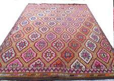 "Turkish antique pastel vintage oushak earth colors carpet rug kilim  9'  x 6'2"""