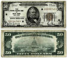 1929 $50 Federal Reserve Bank New York NY $50.00 National Currency Note