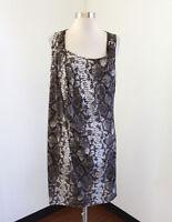Michael Kors Brown Gray Snakeskin Print Asymmetrical Draped Dress Size L Casual