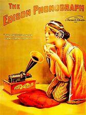 MUSICA Pubblicità Edison PHONOGRAPH Songbird GIRL CORNO Cuscino Usa poster stampa lv2244