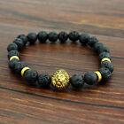 Cool Men's Gold Lion Buddha 8mm Beaded Black Lava Rock Bangle Bracelet Gift