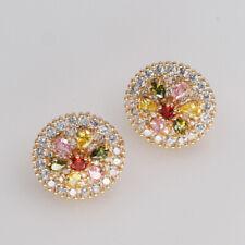 18K Gold Filled Women Earring Round flower Rainbow Topaz Zircon mystic Ear stud