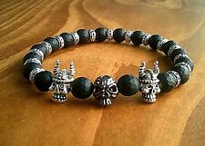 Mens Gothic Skull Gemstone Bracelet Black Onyx Jewellery Gifts Skulls UK Seller