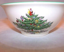 """Spode Nut Bowl Christmas Tree with Green Trim Made in England 2"""" H x 5.5"""" D"""