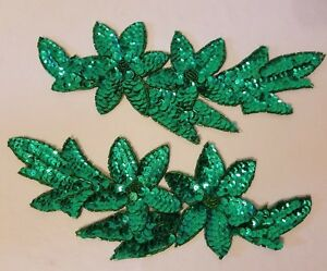 """Pair Vintage Emerald Green Flower Beaded Sequined Appliques Sew On Crafts 4x10"""""""