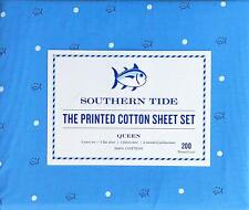 Southern Tide 4 Pc Queen Sheet Set Skipjack Dot 100% Cott. Percale Blue