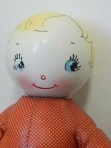 "Vintage Krueger 14"" Plastic Rattle Doll w/Oilcloth Body, Needs Repair"