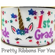 "First grade Unicorns 3"" wide grosgrain ribbon the listing is for 2 yards"