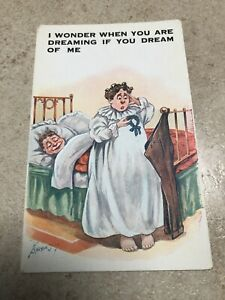 1900s colour postcard . i wonder when you are dreaming if you dream of me !