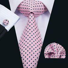 Polka Dots Mens Tie Pink Silk Necktie Hanky Cufflinks Set Wedding Party SN-1482
