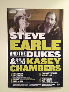 STEVE EARLE & THE DUKES + KASEY CHAMBERS 2014 Australian Tour Poster A2 **NEW**