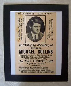 GENERAL MICHAEL COLLINS MEMORIAL DEATH NOTICE PHOTOGRAPH / PICTURE