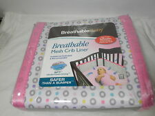 SPT Breathable Baby Mesh Crib Liner Bumper - Safer Than A Bumper ~ GEO GIRL Pink