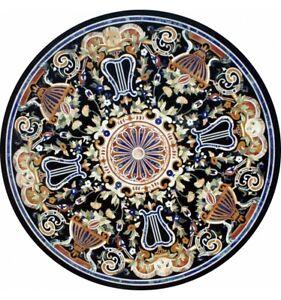 "36"" Black Marble Dining Table Top Pietra Dura Inlay Art Handmade Decorative B652"