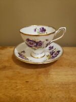 ANTIQUE TAYLOR AND KENT TEA CUP AND SAUCER MADE IN ENGLAND PURPLE/VIOLET 7035