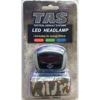 TAS HEADLAMP 200 LUMEN WITH SLIDE COLOUR FILTERS AND CAMO HEADBAND - HEAD TORCH