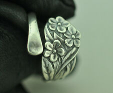 Beautiful 925 Sterling Silver Small Forget-Me-Not Flower Spoon Ring