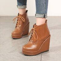 NEW Women Platform PU Leather Lace up Ankle Boots Wedge High Heel Winter Shoes