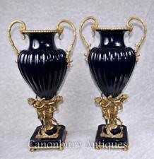 More details for pair big french empire porcelain vases ormolu maiden amphora urn