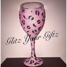 Rosa Leopardo Animal Print mano hecha a mano Regalo Brillo Copa De Vino