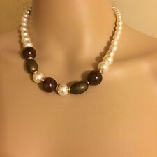 """Vintage Necklace Paula Faux Pearls And Brown Beads Necklace 17"""""""
