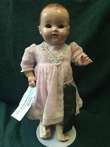 """1949 WALKALON WALKER 20"""" Doll Hard Plastic WIND UP Walking doll with KEY"""