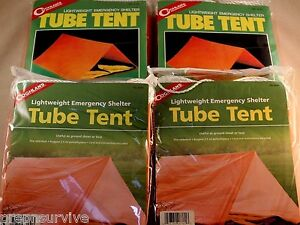 4 PK EMERGENCY TUBE TENT, LIGHTWEIGHT ROOM FOR 2 EA SETUP QUICKLY FIRE RETARDENT