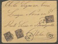 1895 Env. à 75 c avec 3*25c sage en recommandé R noir pour L'Italie TB. X1760