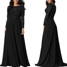 Womens Formal Lace Party Long Dress Ladies Long Sleeve Party Dress Size 20