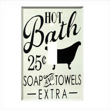 Hot Bath Words Single Light Switch Plate Wall Cover Room Decor Soap