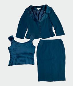 PADDY CAMPBELL Women Skirt Suit Jacket Size 14 Skirt 12 Waistcoat Green 3 piece
