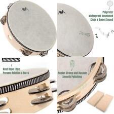 "Tambourine Drum Hand Held Aklot 10"" 8 Pairs Double Row Metal Bell Jingles Beech"