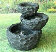 Gardenwize Garden Outdoor Solar Powered 3 Layer Grey Stone Rocks Water Fountain