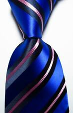 New Classic Striped Blue Black Pink JACQUARD WOVEN 100% Silk Men's Tie Necktie