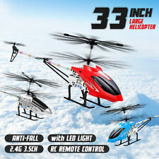 33'' 3.5CH 2.4G Large RC Helicopter Gyro Remote Control Two Blades w/ LED Light
