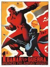 WAR PROPAGANDA SPANISH CIVIL CNT COMMUNIST ANTI FASCIST SPAIN POSTER ART 2786PY