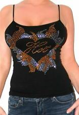 Sexy Black Studded Hot Sunshine Embellished party tank Top O/S 0-8 best glam New