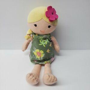 "Carters Hawaiian Doll Blonde Pink flower Green dress Baby Plush soft toy 10"""