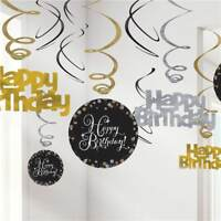 Happy New Year Champagne GlassBubbly Hanging Swirl Decorations 1-20pk