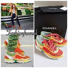 Chanel Runway mercado Rojo Verde Tweed Oro Piel De Cordero formadores 36 6