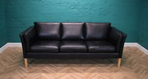 Mid Century Retro Danish Stouby Style Black Leather 3 Seat Sofa Settee Couch 70s