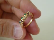 18CT Gold Diamond Sapphire Ruby Emerald Heart Ring