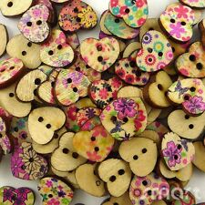 10pcs Mixed Heart Wood Button 2-Holes Lot 15x13MM Sewing Craft Embellish Cards