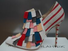 Manolo Blahnik 37.5 multi coloured suede and canvas heels.  Never worn.