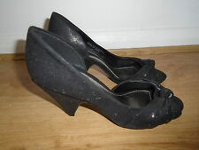 Black suede effect peep toe shoes with slight sheen, DOROTHY PERKINS, UK size 5